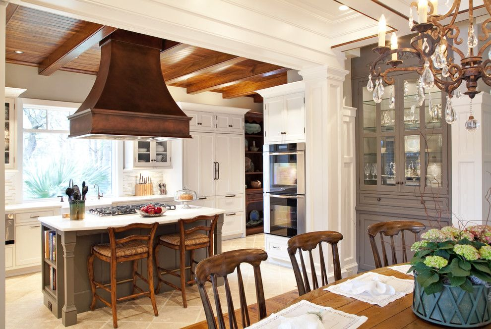 Trulia Charleston Sc for a Traditional Kitchen with a Grey Painted Built in Cabinets and Elegant Traditional Kitchen Beaded Inset by Carolina Kitchens of Charleston, Inc.