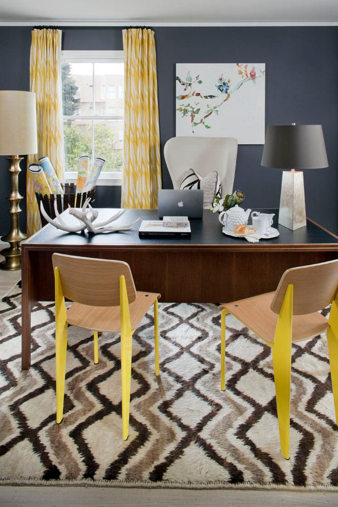Trulia San Francisco for a Eclectic Home Office with a Rug and Cow Hollow Residence    San Francisco by Green Couch Interior Design