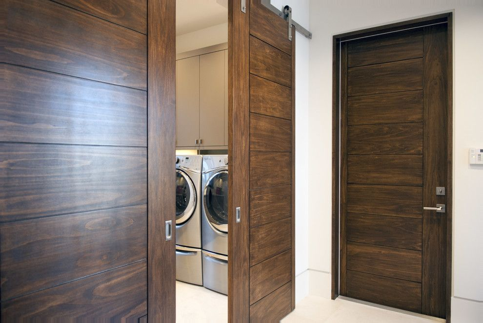 Trustile Doors for a Modern Laundry Room with a Flat Panel Door and Modern Fusion Design by Trustile Doors