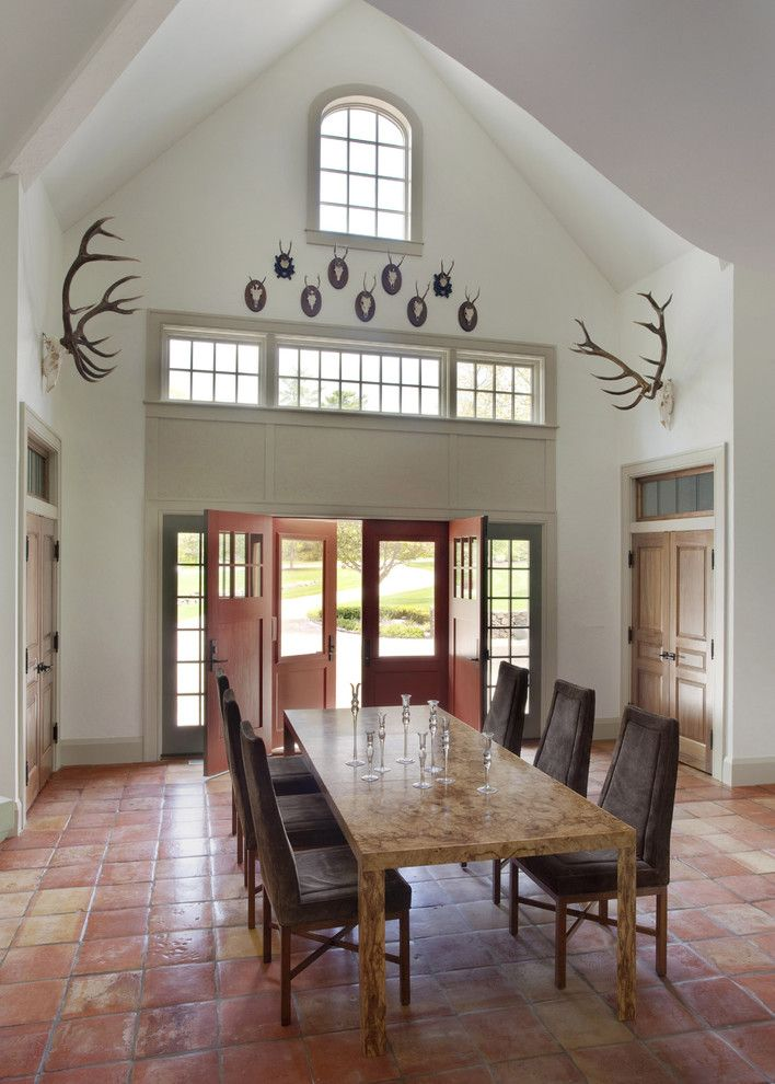 Trustile Doors for a Rustic Dining Room with a Vaulted Ceiling and Persimmon by Siemasko + Verbridge