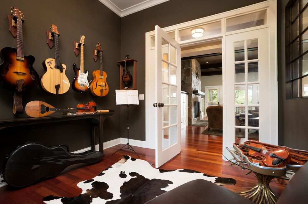 Trustile Doors For A Transitional Home Office With A Instrument Storage And  Comfortable Cottage Style By