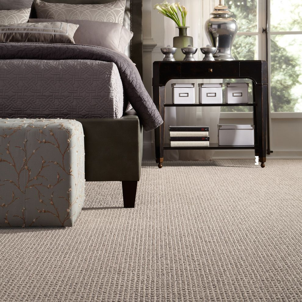 Tuftex Carpet for a Contemporary Bedroom with a Gray Bedding and Delightful Dream by Tuftex Carpets of California