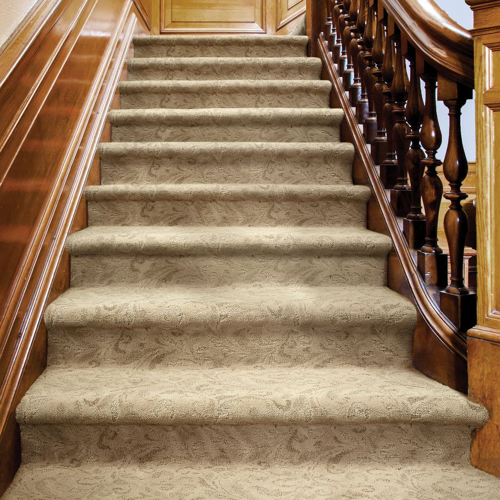 Tuftex Carpet for a Contemporary Staircase with a Carpeted Stairs and Damask by Tuftex Carpets of California