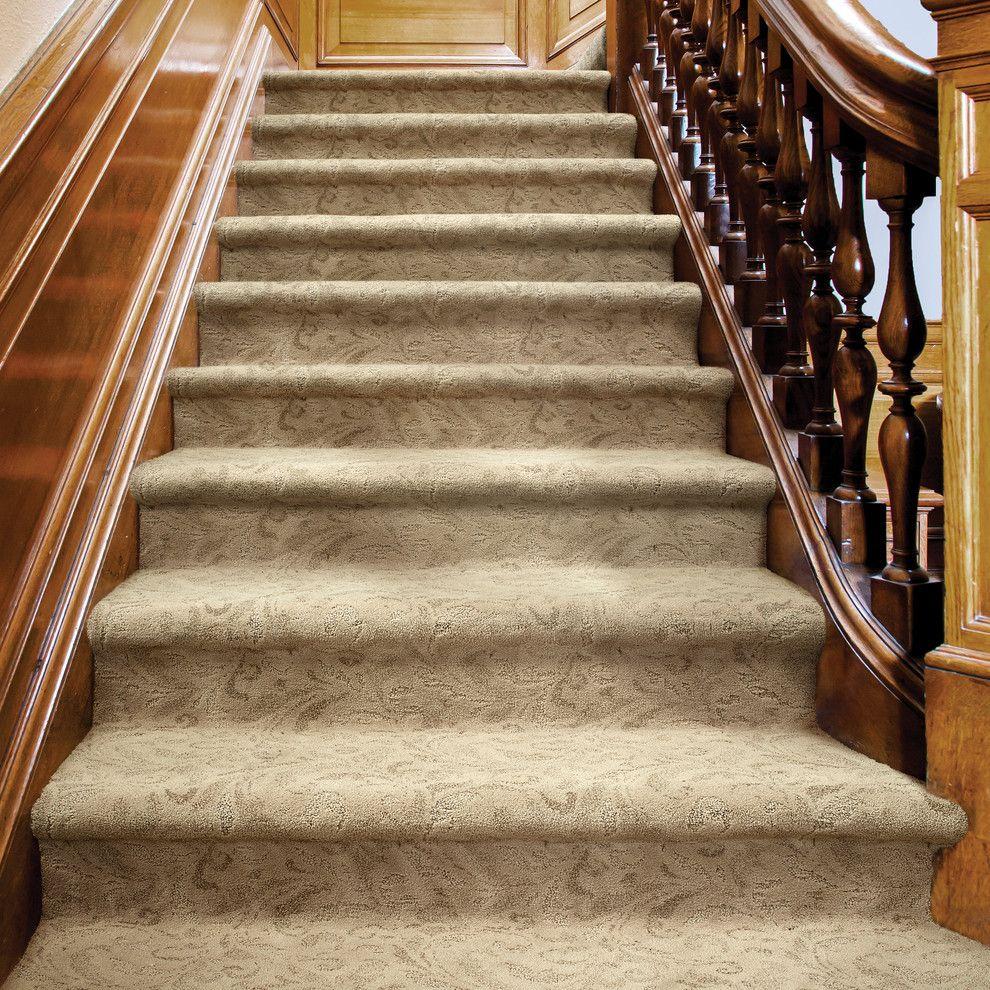 Tuftex Carpet for a Contemporary Staircase with a Carpeted Stairs and Damask by Tuftex Carpets of California