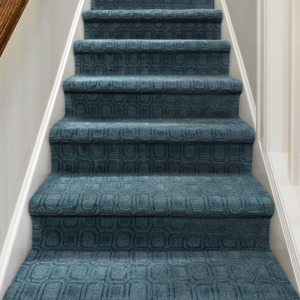 Tuftex Carpet for a Contemporary Staircase with a Gray Walls and Genoa by Tuftex Carpets of California