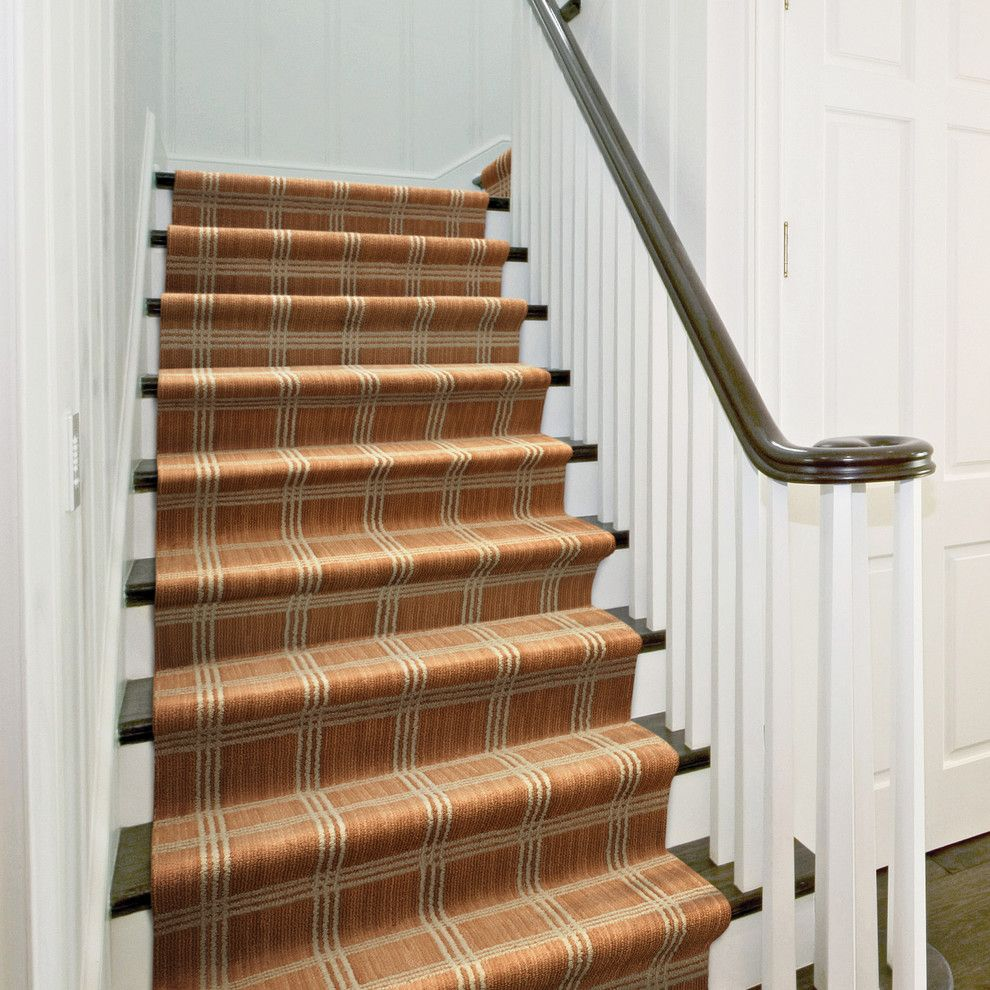 Tuftex Carpet for a Contemporary Staircase with a Striped Carpet and Madera by Tuftex Carpets of California