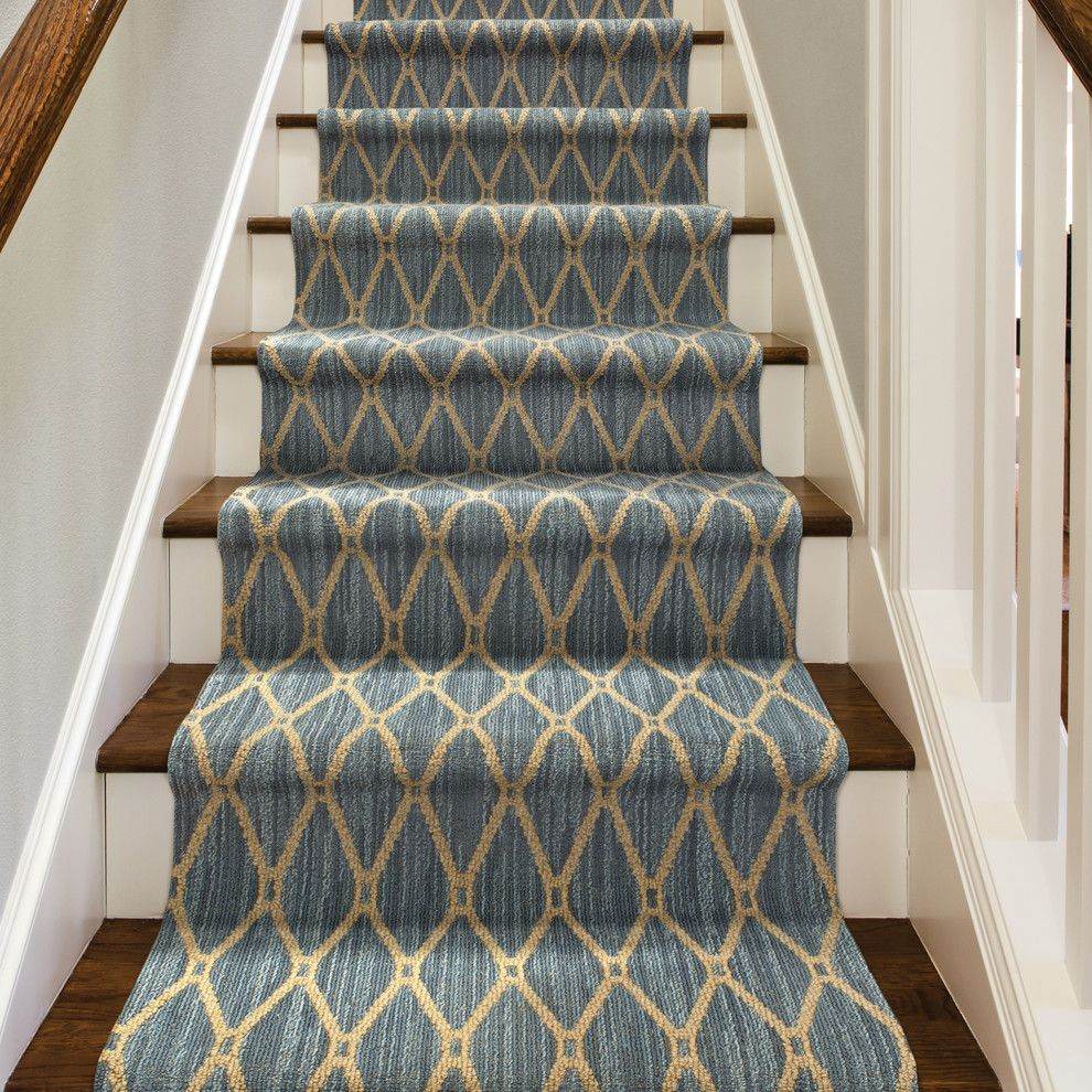 Tuftex Carpet for a Contemporary Staircase with a White Railing and Marrakech by Tuftex Carpets of California