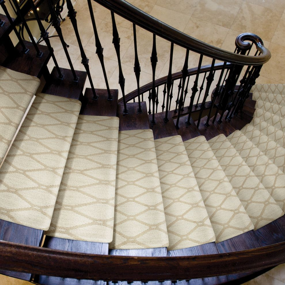 Tuftex Carpet for a Traditional Staircase with a Carpet Runner and Marrakech by Tuftex Carpets of California