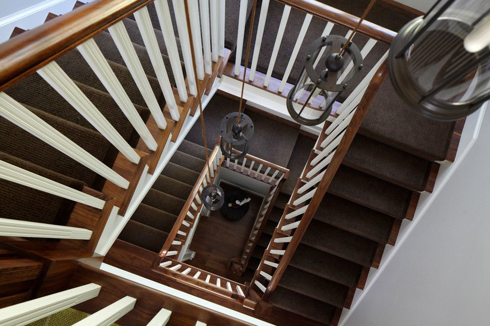 Tuftex Carpet for a Transitional Staircase with a Grand Staircase and Greenwich Residence by Leap Architecture