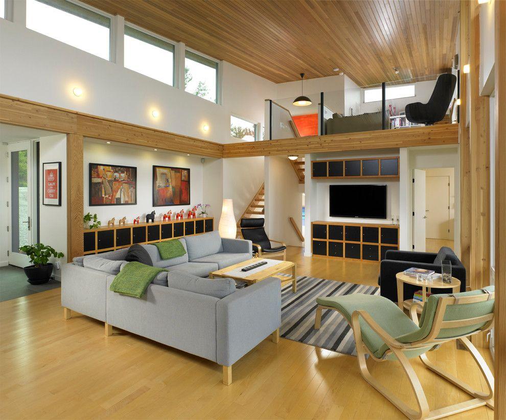 Turkel Design for a Contemporary Living Room with a Cedar Liner and Turkel Design for Lindal Cedar Homes 70626 by Lindal Cedar Homes