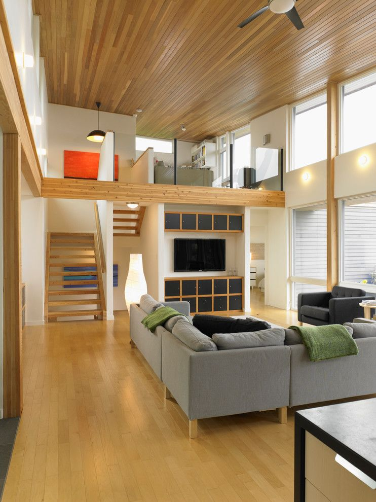 Turkel Design for a Contemporary Living Room with a Exposed Beams and Turkel Design for Lindal Cedar Homes 70626 by Lindal Cedar Homes