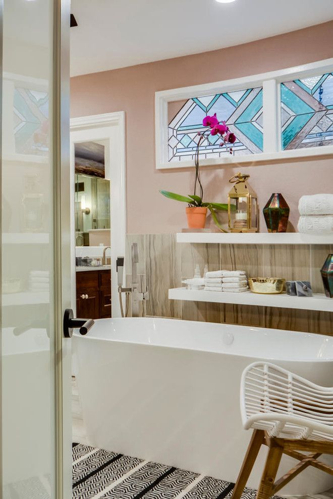 Turnstyle for a Contemporary Spaces with a Decorative Boxes Turnstyle Design and Restful Retreat Master Bath by Turnstyle Design