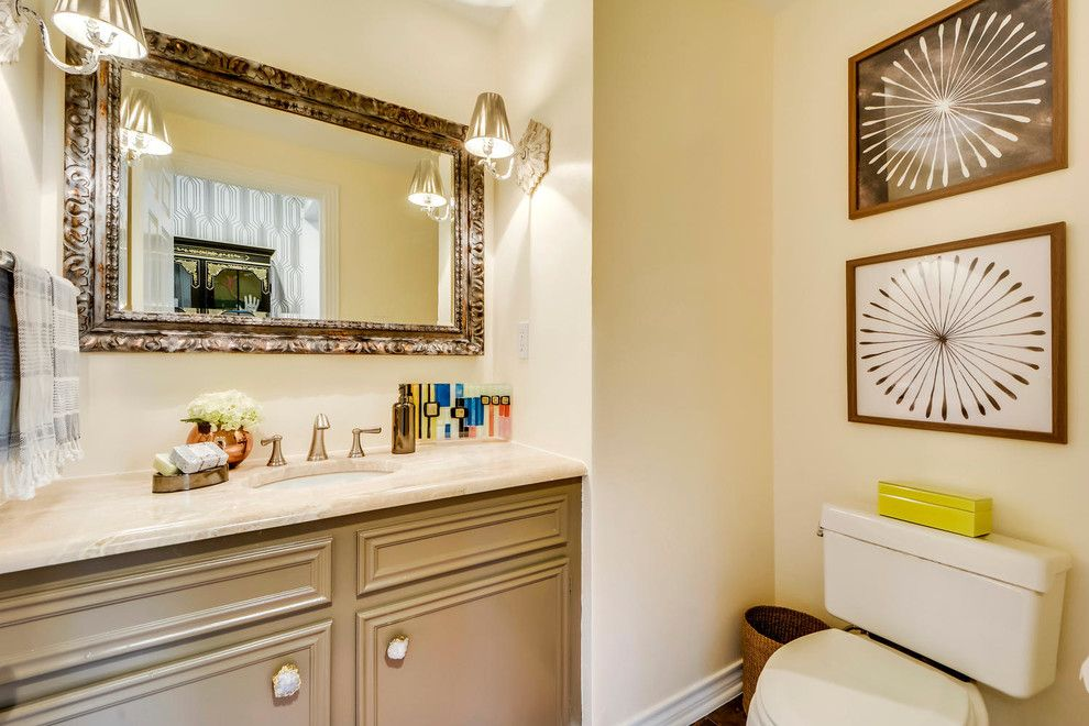 Turnstyle for a Traditional Spaces with a Decoration and Peaceful Powder Room by Turnstyle Design