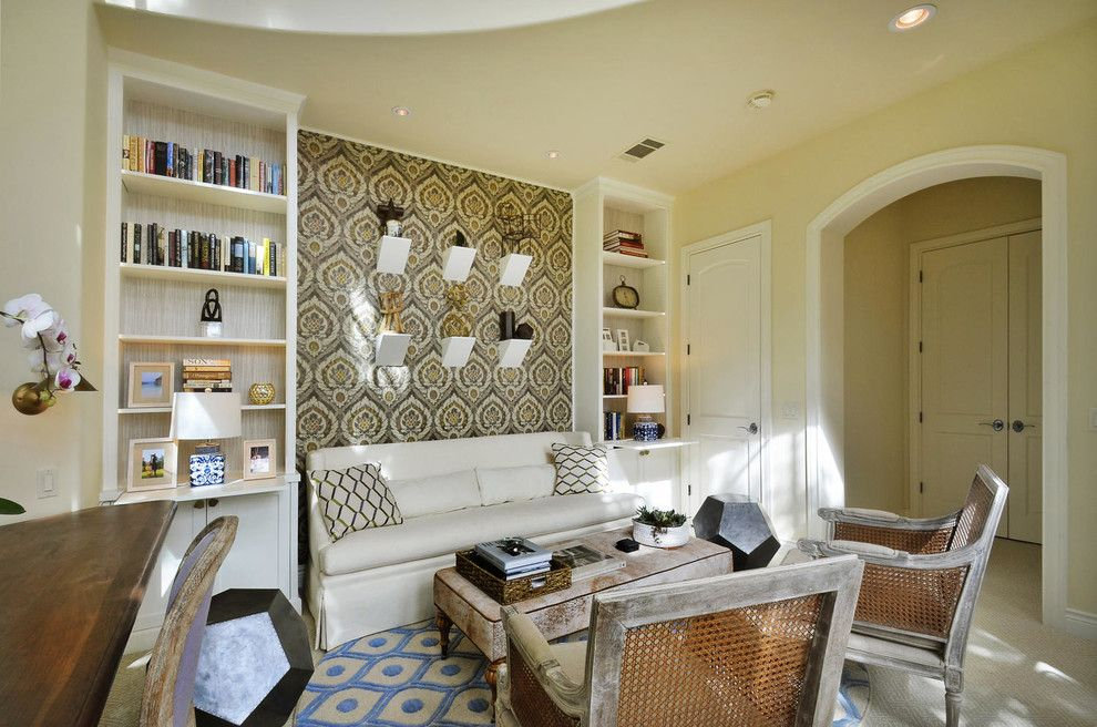 Turnstyle for a Transitional Home Office with a Upholstered Wall and Library Loft by Turnstyle Design