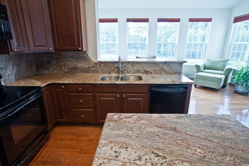 Typhoon Bordeaux for a Traditional Kitchen with a Granite Countertops and Typhoon Bordeaux Granite by Granite Grannies