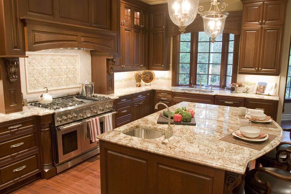 Typhoon Bordeaux for a Traditional Kitchen with a Prep Sink and Shiela Off, Cmkbd by Signature Design & Cabinetry Llc