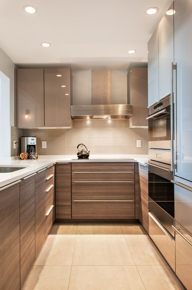 U Save Rockery for a Contemporary Kitchen with a High Gloss Gray Cabinets and Flagship Wharf Renovation by Lee Kimball