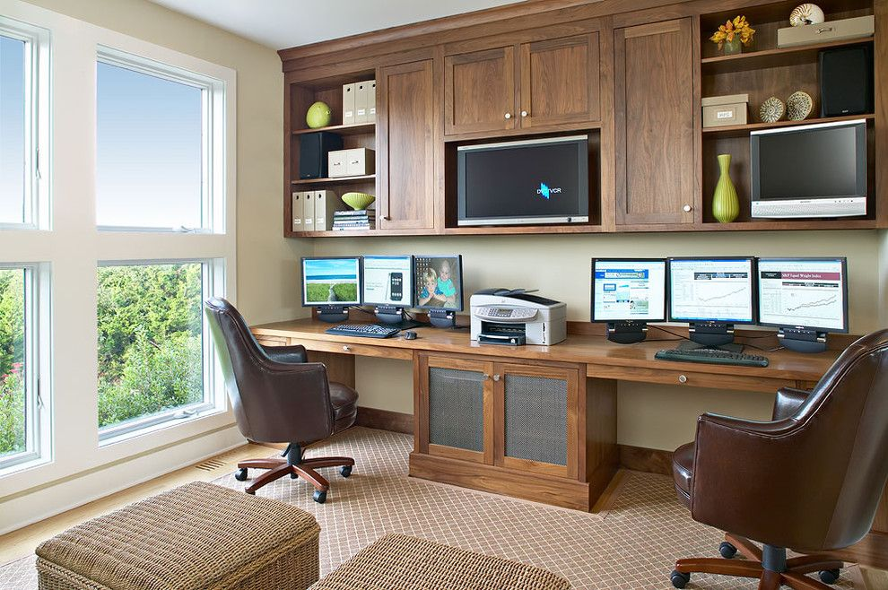 Ubuildit for a Beach Style Home Office with a Wicker Pouf and Amagansett Beach Retreat by Kitchens & Baths, Linda Burkhardt