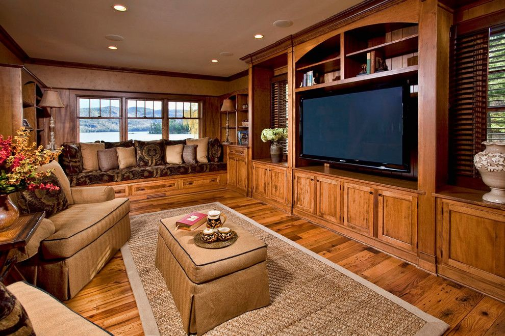 Ubuildit for a Traditional Home Theater with a Traditional and Private Residence on Lake George by Phinney Design Group