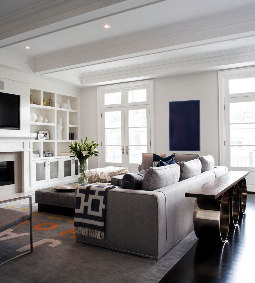 Ubuildit for a Transitional Living Room with a Dark Floor and City Home by Jennifer Worts Design Inc.