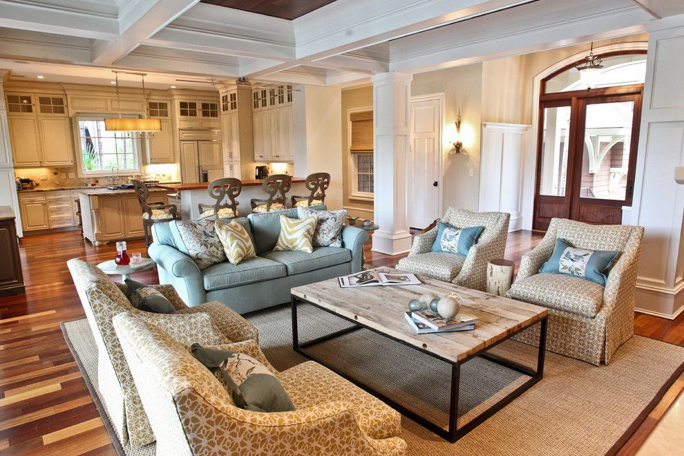 Unclaimed Freight Furniture for a Beach Style Living Room with a Wood Flooring and Kiawah Family Home by Margaret Donaldson Interiors
