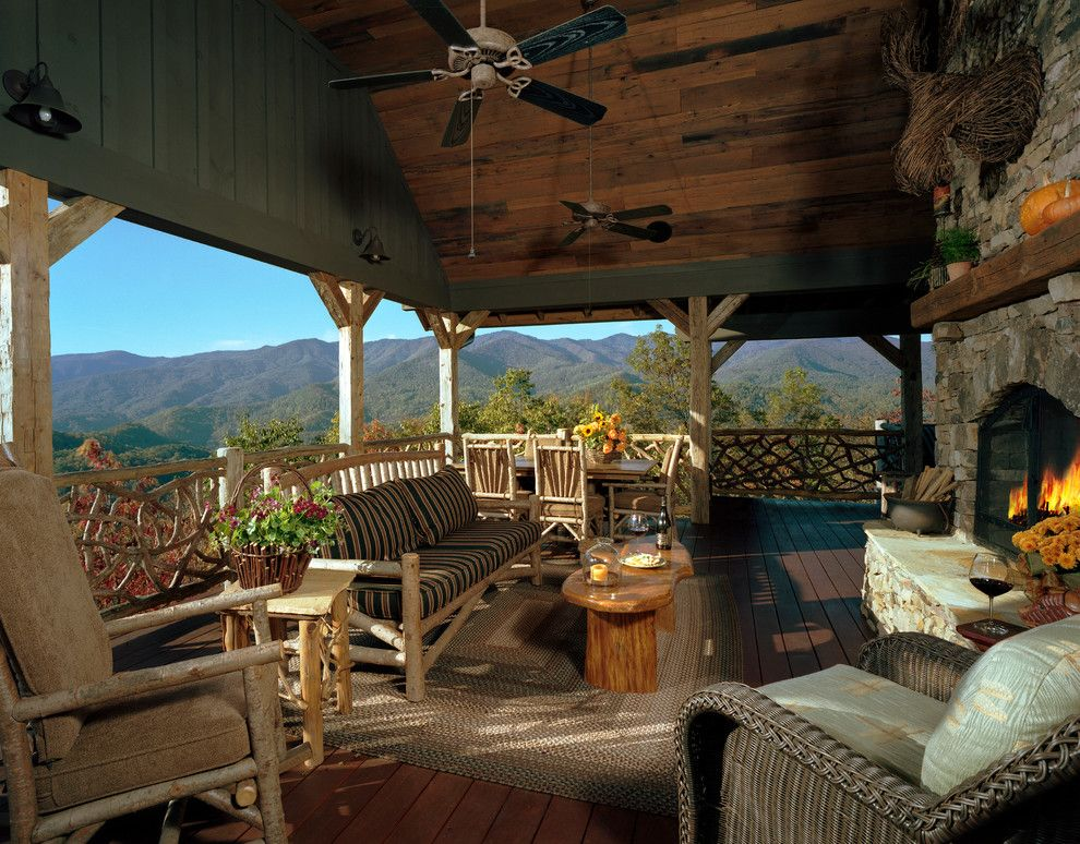Unclaimed Freight Furniture for a Rustic Porch with a Porch and Balsam Mountain Rustic Elegance by Appalachian Antique Hardwoods
