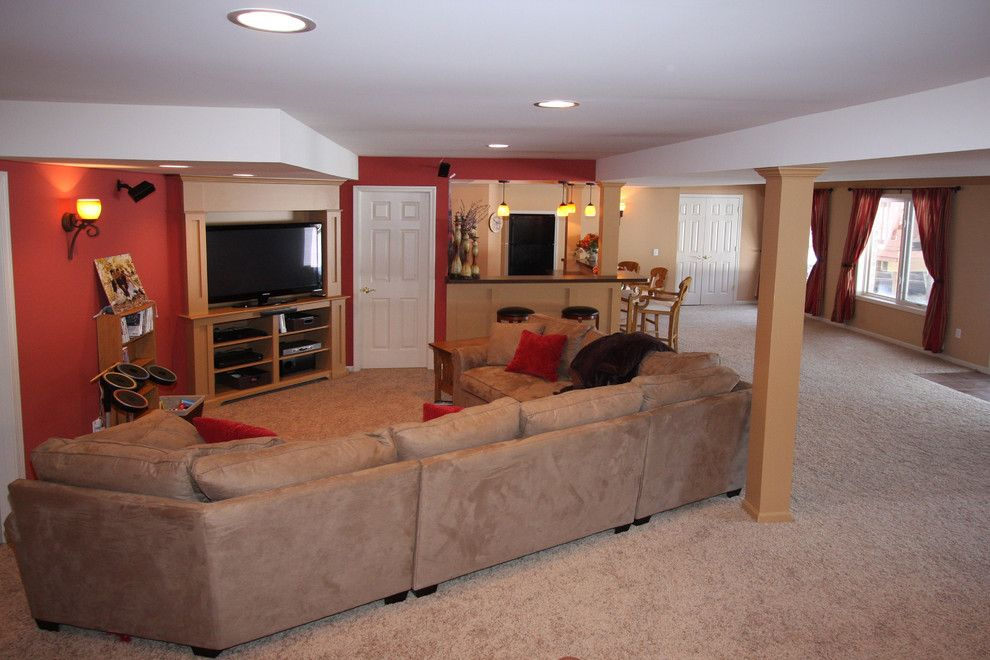 Unfinished Basement Ideas for a Contemporary Basement with a Basement Renovation and M.j. Whelan Construction by M.j. Whelan Construction