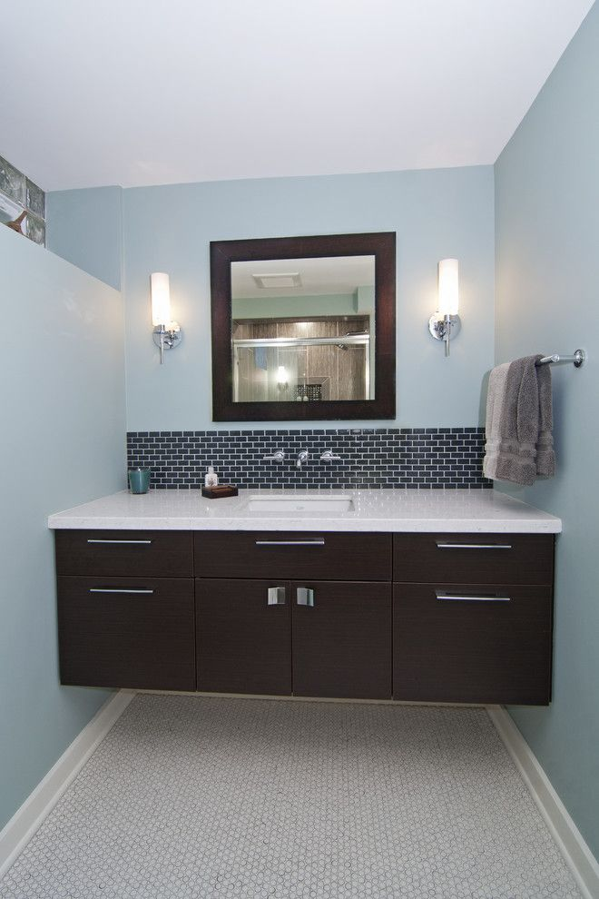 Unfinished Basement Ideas for a Contemporary Bathroom with a Blue Walls and a Modern Lower Level by White Crane Construction