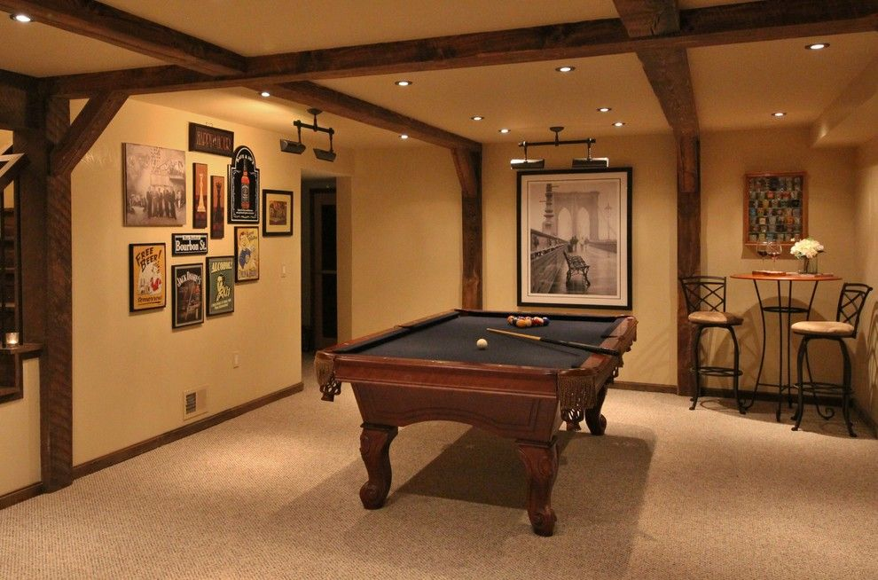 Unfinished Basement Ideas for a Transitional Basement with a Distressed Wood and Basement Makeover by Flatbrook & Co