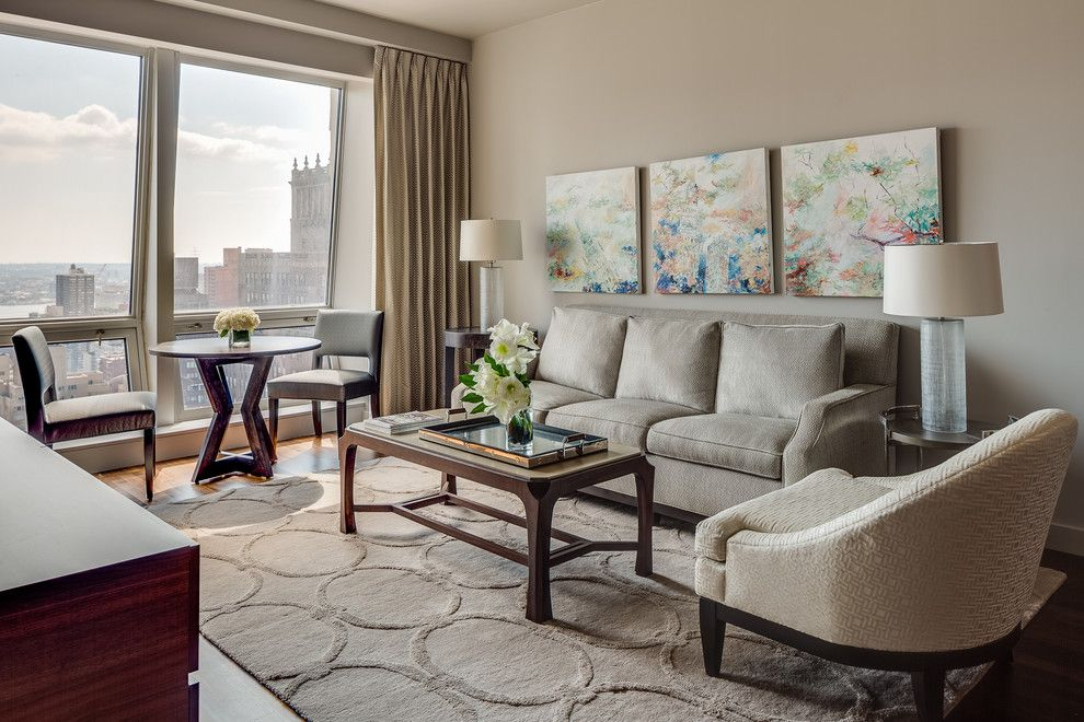 Urban Outfitters Rugs for a Contemporary Living Room with a Arm Chair and New York Pied a Terre by Applegate Tran Interiors
