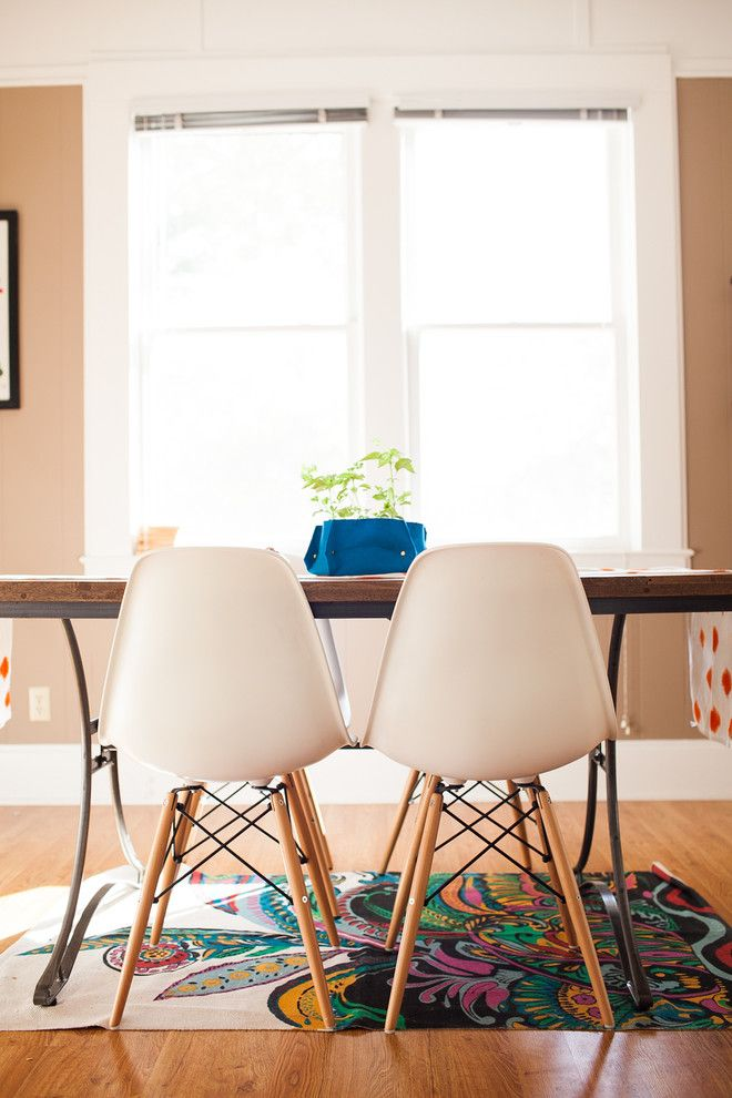 Urban Outfitters Rugs for a Eclectic Dining Room with a White Baseboard and Channer Residence by Jennifer Young
