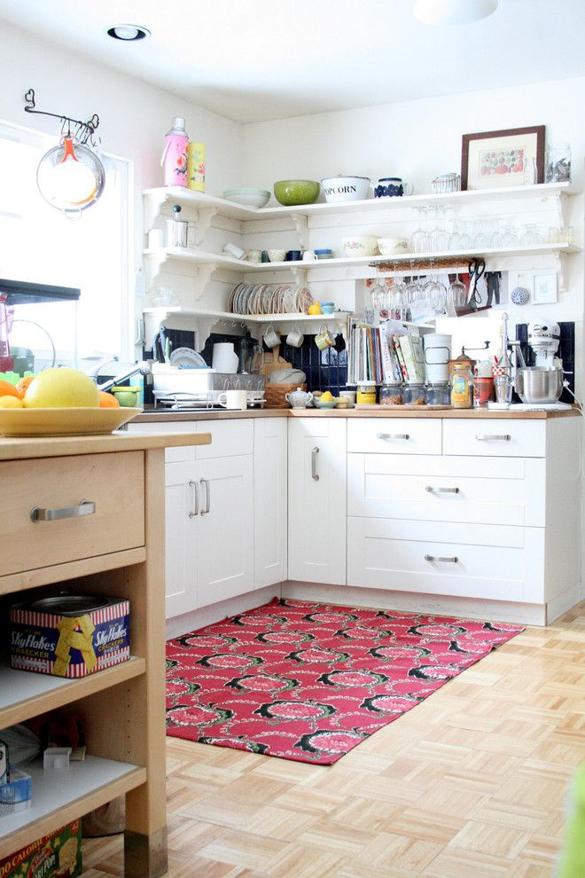 Urban Outfitters Rugs for a Eclectic Kitchen with a Wood Flooring and Eclectic Kitchen by Nestprettythings.com