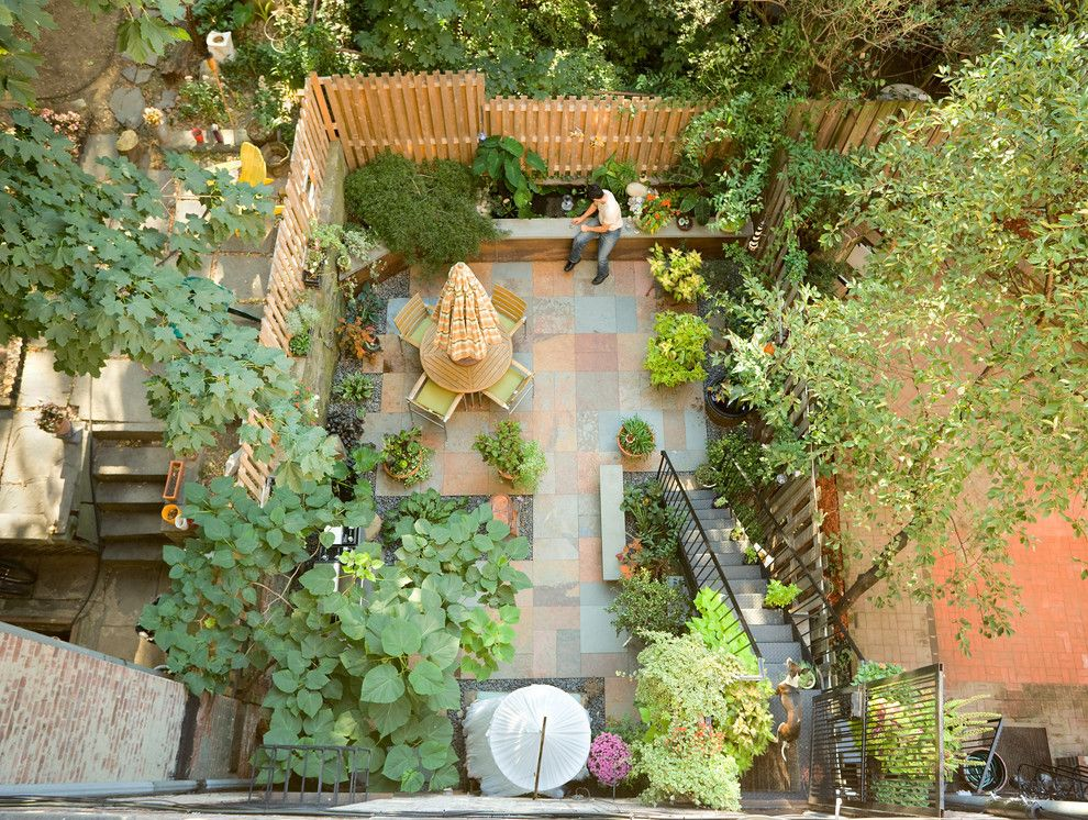 Urban Squared Realty for a Traditional Patio with a Courtyard and Historic Brownstone Renovation by Tobin + Parnes Design Enterprises