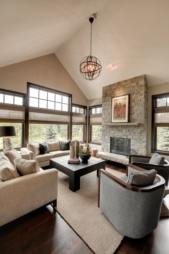 Urban Squared Realty for a Transitional Family Room with a Nailhead Trim and Urban Lodge by Eskuche Design