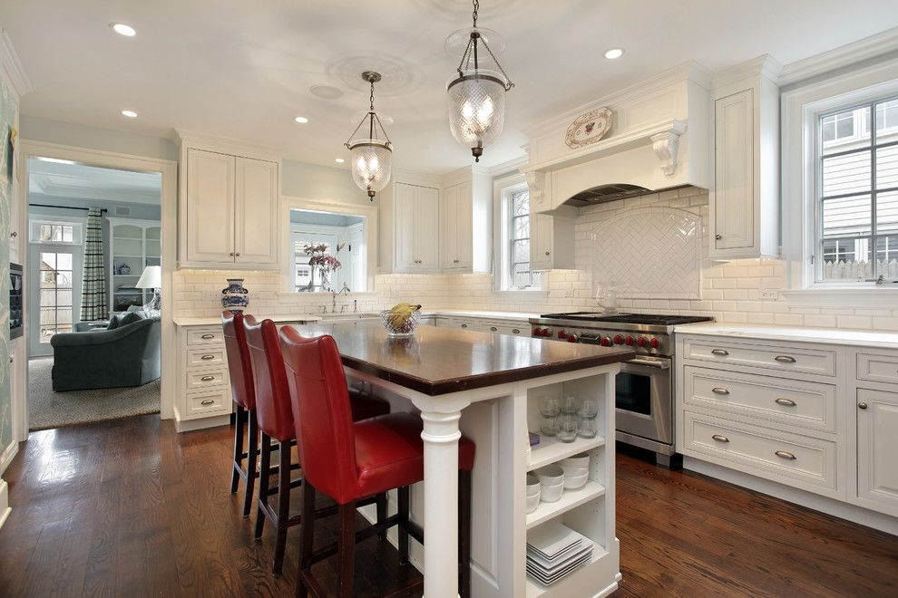 Us Cabinet Depot for a Contemporary Kitchen with a Chandelier and Custom Color Finish by N Hance