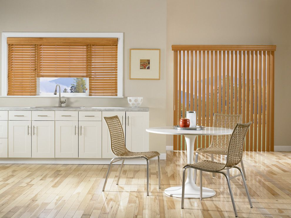 Us Cabinet Depot for a Contemporary Kitchen with a Roman Shades and Vertical Faux Wood Blinds by Budget Blinds