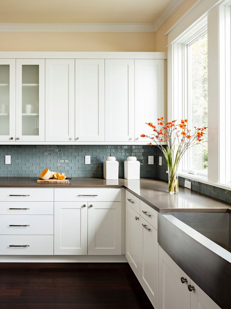Us Cabinet Depot for a Transitional Kitchen with a White Column and Furnace Townhouse by Jenni Leasia Design