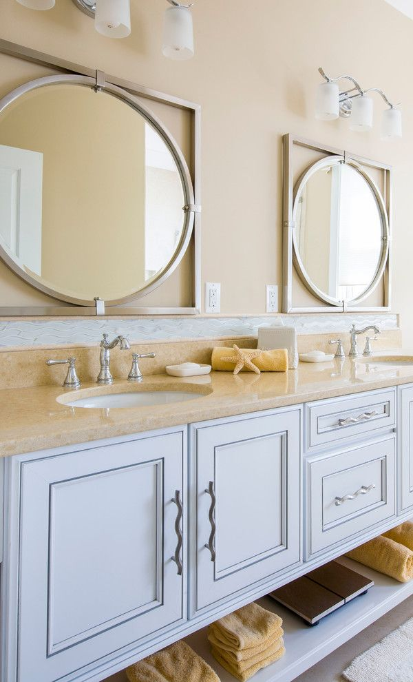 Uttermost for a Beach Style Bathroom with a Coastl Flair and Assawoman Bay House by Gina Fitzsimmons Asid