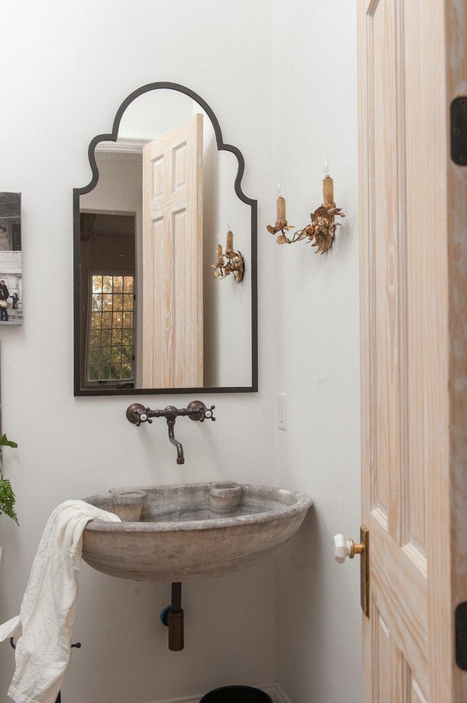 Uttermost for a Mediterranean Powder Room with a Wall Mount Faucets and Vestavia Hills Home by Ruff Reams Building Co.