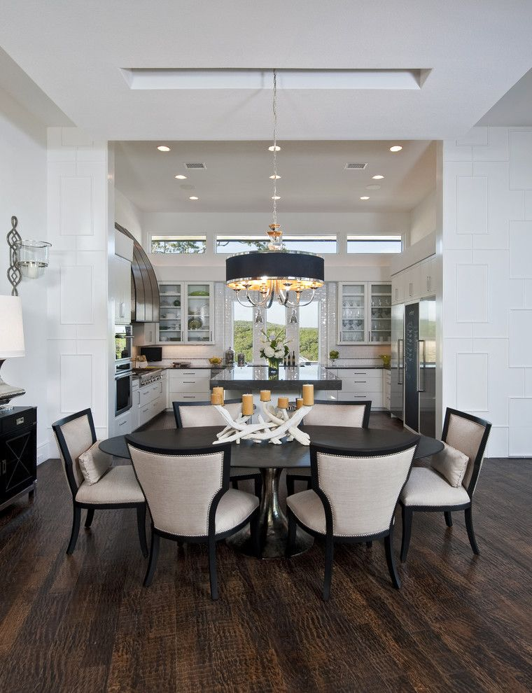 Uttermost for a Transitional Dining Room with a Open Floor Plan and Rough Hollow Parade Home by Ppds