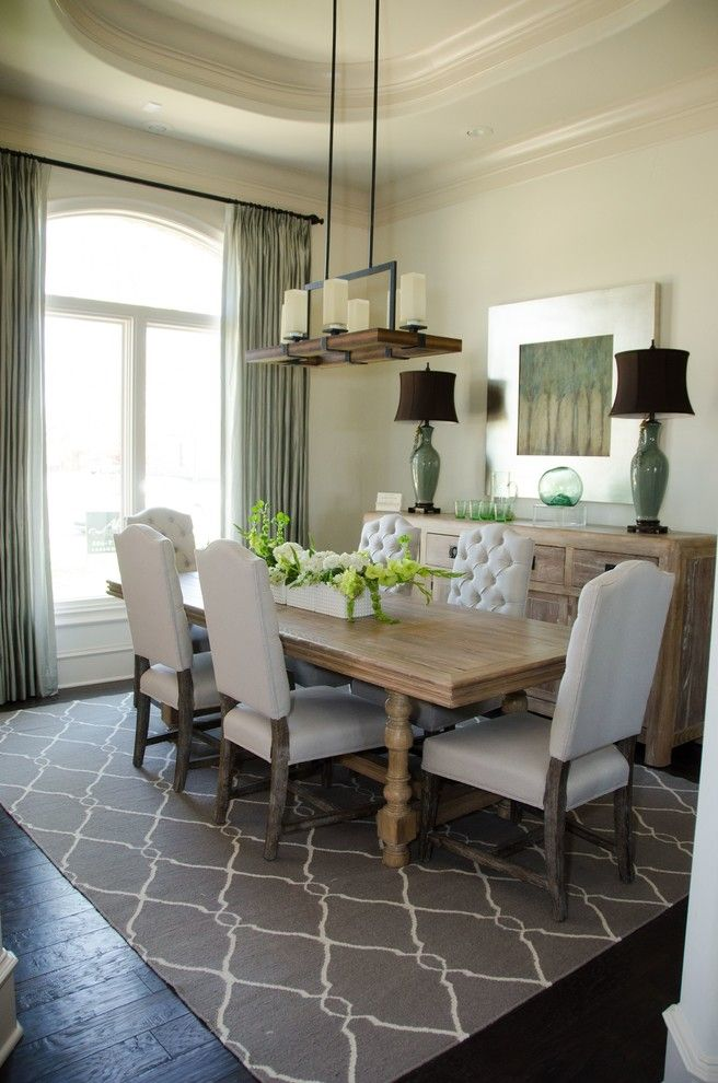 Uttermost For A Transitional Dining Room With Roman Shades And Inspired Drapes From Budget Blinds