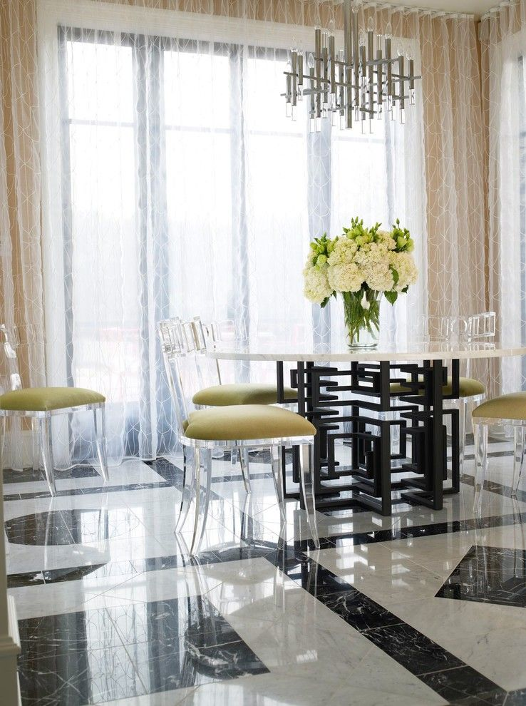 Valley Forge Flowers for a Contemporary Dining Room with a Tile Floor and Casa Blanca by Jamie Herzlinger