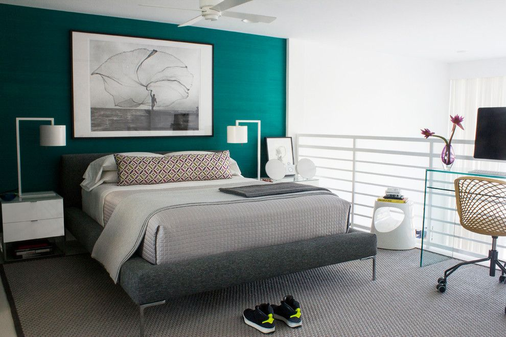 Valspar Paint Colors for a Contemporary Bedroom with a Master Bedroom and Master Bedroom – South Beach Apartment, Miami Beach by Diego Alejandro  Interior Design