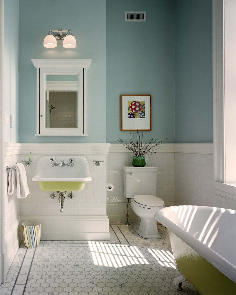 Valspar Paint Colors for a Traditional Bathroom with a Wall Lighting and Wyndmoor Residence Bathroom by Hanson Fine Building