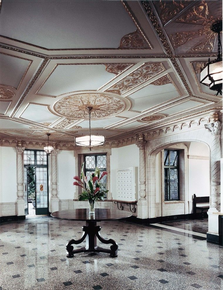 Value City Furniture Nj for a Traditional Entry with a Centerpiece and Lobby Restoration by Francoise Bollack Architects