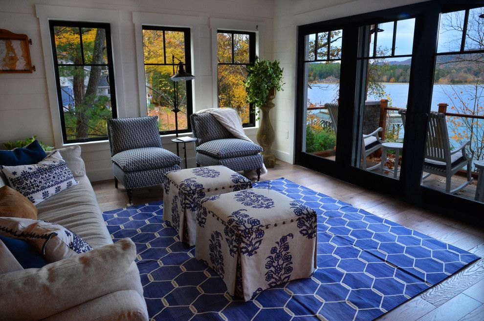 Van Metre Homes for a Farmhouse Living Room with a Glass Coffee Table and Lake Home by a Perfect Placement