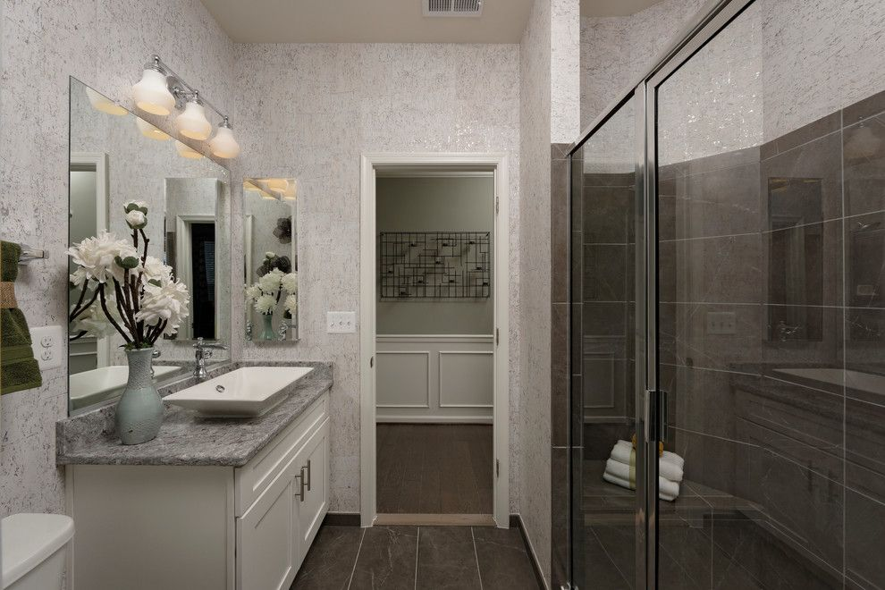 Van Metre Homes for a Modern Bathroom with a Stone Ridge and the Waverly Model at Cedarwood by Van Metre Homes Design Studio