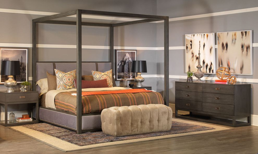 Vanguard Furniture for a  Bedroom with a Tufted Ottoman and Bedroom   Vanguard Furniture by Luxe Home Philadelphia