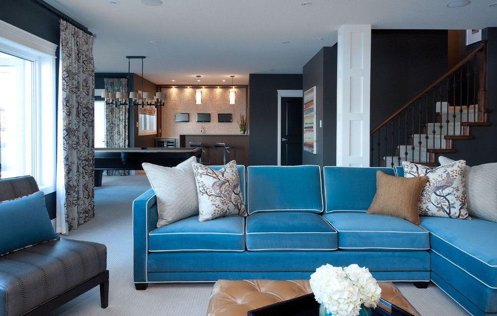 Vanguard Furniture for a Contemporary Family Room with a Grey Wall and Hospital Home Lottery 2012 by Atmosphere Interior Design Inc.
