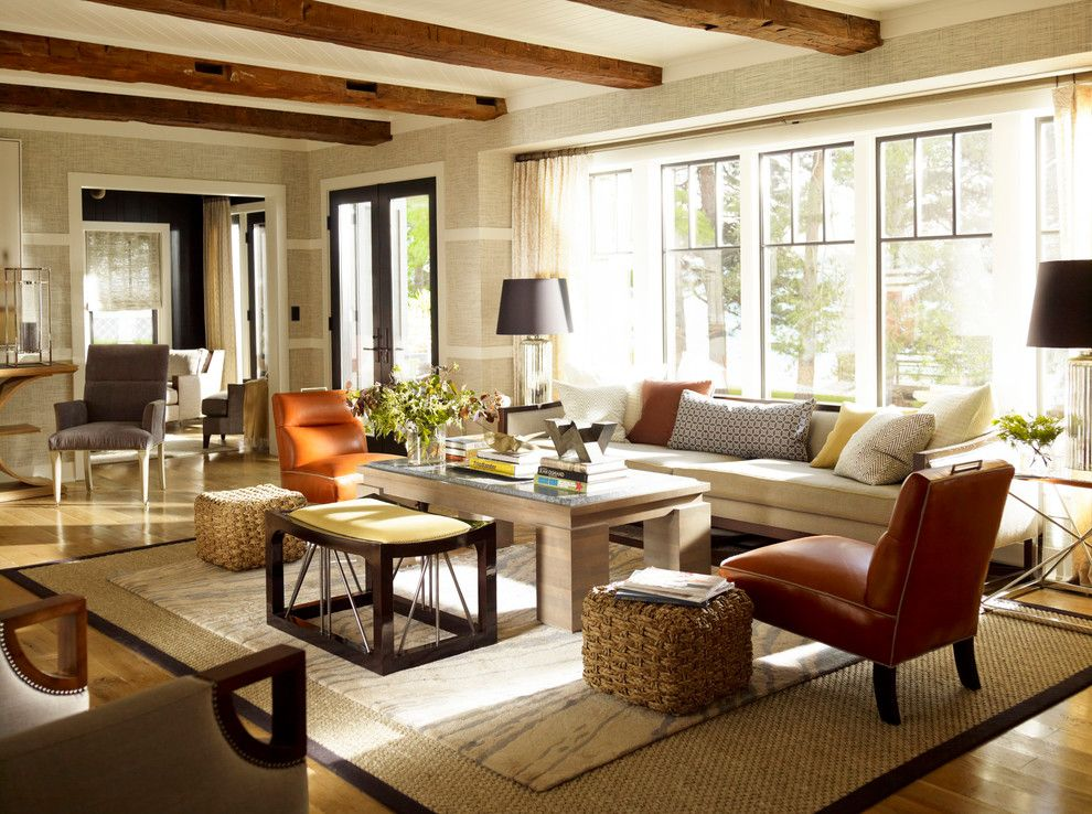 Vanguard Furniture for a Traditional Living Room with a Leather Chair and American Beauty by Thom Filicia by Clarkson Potter
